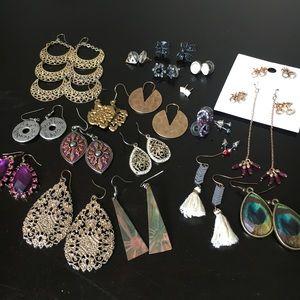 Jewelry - 24 earrings dangling & studs jewelry lot
